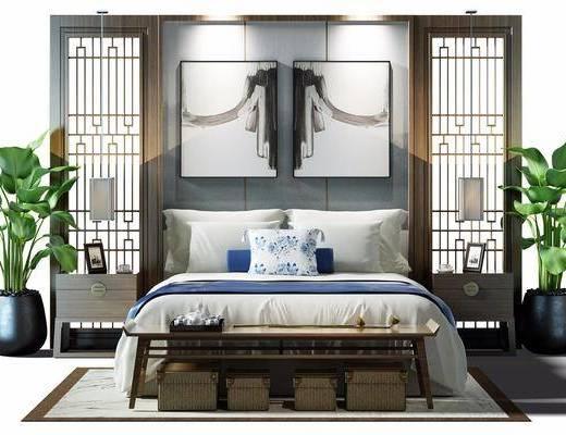 中式风格双人床组合, 中式, 床, 栅格, 植物, 床头柜