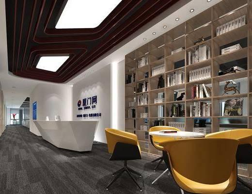 现代前台, 前台, 书架, 单人沙发, 现代