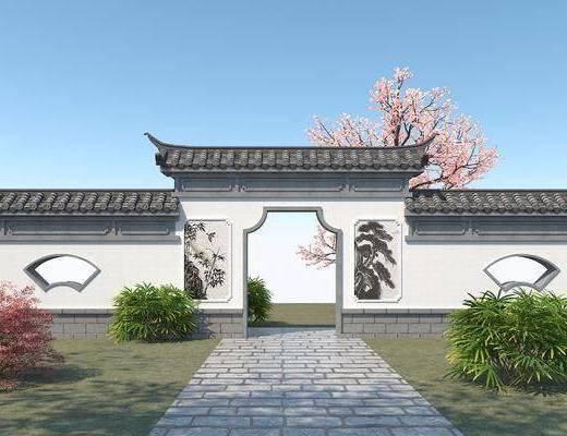 园林景观墙, 庭院门, 青瓦白墙, 景墙, 景观小品