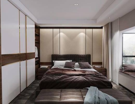 双人床, 衣柜, 床具组合, 床尾踏