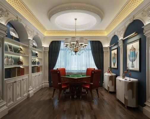 家庭棋牌室, 麻将桌, 装饰画, 挂画, 吊灯, 欧式