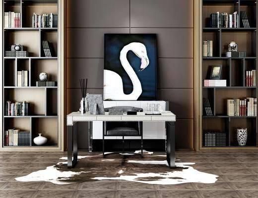 书柜组合, 桌椅组合, 摆件组合, 新中式