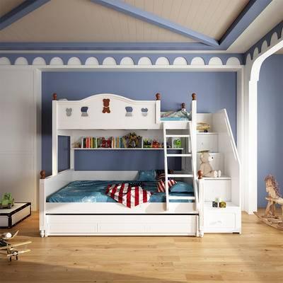 单人床, 上下铺, 背景墙
