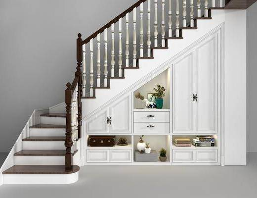 欧式楼梯, 置物柜, 储物柜, 楼梯, 欧式, 摆件