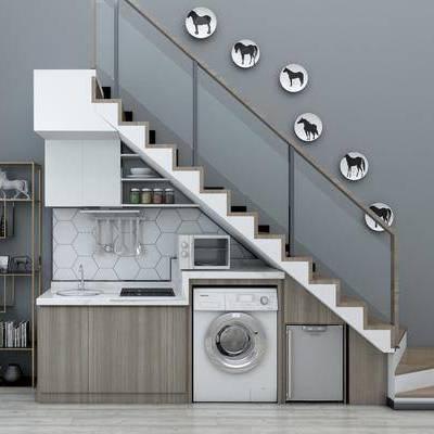 新中式楼梯, 新中式, 楼梯, 洗衣机, 装饰架