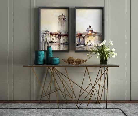 装饰挂画, 端景台, 摆件组合, 装饰画, 花瓶