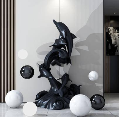 雕塑, 动物, 摆件组合