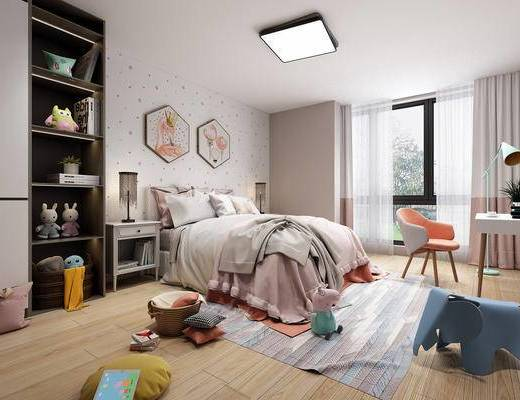 卧室, 儿童房, 公主房, 女孩房, 北欧卧室, 玩具, 床, 椅子