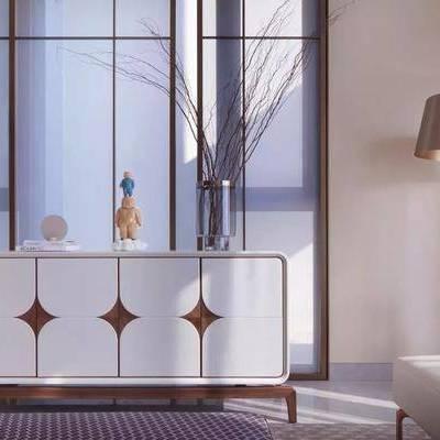 边柜, 玄关柜, 现代, 后现代, 落地灯, 花瓶