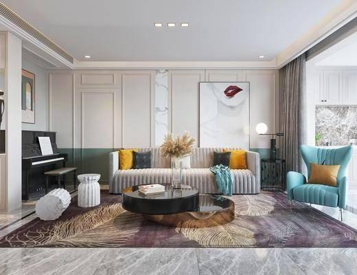 客廳, 餐廳, 沙發組合, 沙發茶幾組合, 餐桌椅組合, 邊柜組合, 鋼琴組合, 掛畫組合, 餐具組合, 擺件組合, 臺燈, 吊燈, 現代輕奢