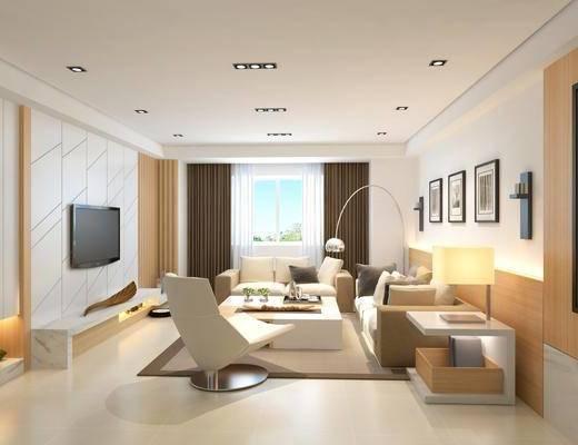 沙发组合, 落地灯, 茶几, 单椅, 装饰画