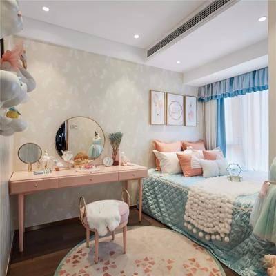 儿童房, 女儿房, 北欧女儿房, 床具组合, 梳妆台, 摆件组合