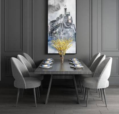桌椅组合, 餐桌, 现代桌椅组合
