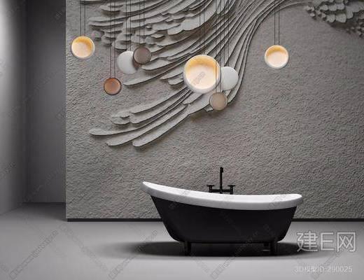 浴缸, 卫浴, 吊灯