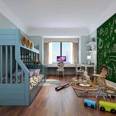 儿童房, 卧室, 床, 上下床, 黑板, 玩具, 书桌, 桌子, 电脑