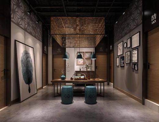 茶馆, 茶桌, 凳子, 单人椅, 装饰画, 挂画, 照片墙, 边柜, 装饰柜, 吊灯, 茶具, 新中式