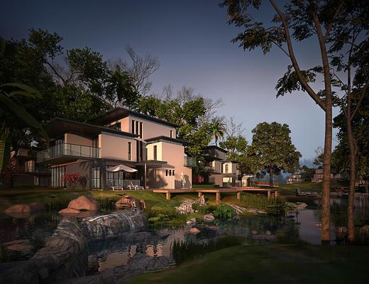 别墅, 室外, 室外空间, 园林