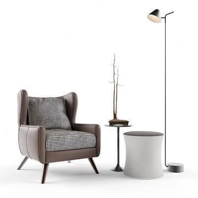 现代简约, 沙发茶几, 落地灯, 组合, 现代