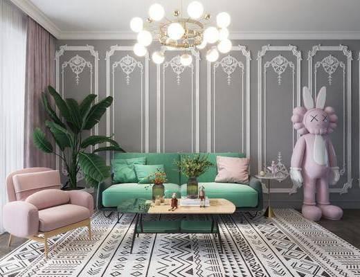 沙发组合, 吊灯, 茶几, 单椅, 背景墙, 地毯