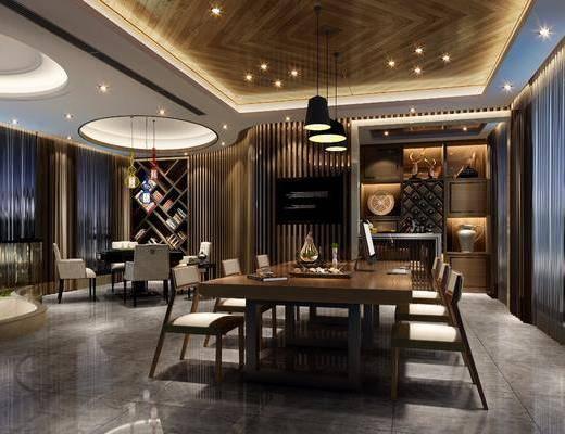新中式茶室棋牌室, 新中式茶室, 新中式棋牌室, 新中式, 椅子, 装饰柜