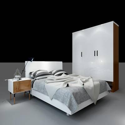 北欧卧室组合, 北欧衣柜, 北欧简约床