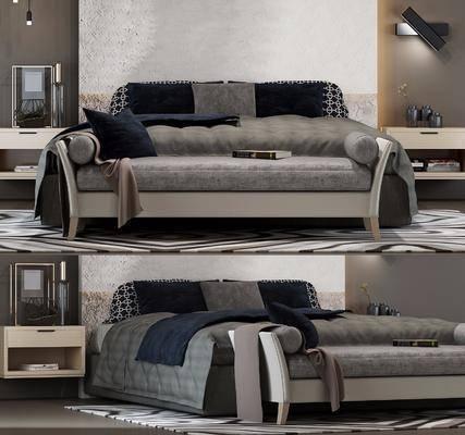 双人床, 床尾榻, 床头柜, 摆件, 壁灯, 现代