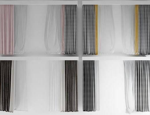 现代, 轻奢, 窗帘, 组合