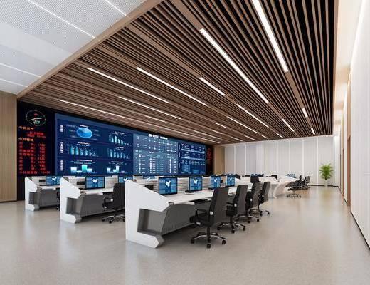 调度室, 监控室, 电脑桌, 屏幕