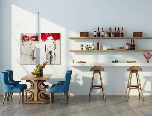 餐桌, 餐椅, 吧台, 吧椅, 单人椅, 装饰画, 挂画, 装饰架, 置物架, 北欧