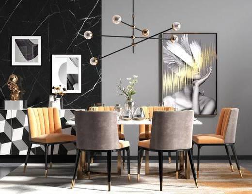 现代轻奢餐厅, 餐桌椅, 吊灯, 挂画, 摆件
