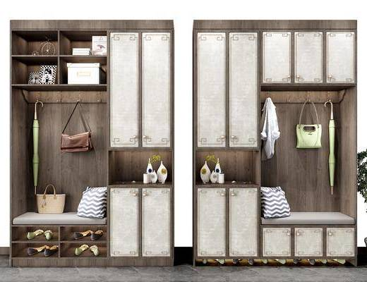 鞋柜, 摆件, 新中式鞋柜, 新中式