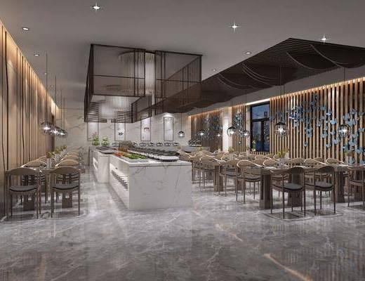 餐厅, 现代餐厅, 桌椅组合, 吊灯, 墙饰, 现代