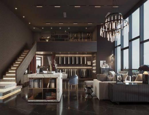 沙发茶几组合, 西装, 吊灯, 装饰品, 摆件
