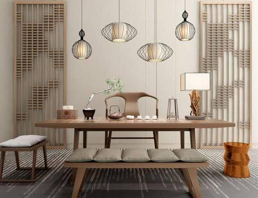 茶室, 茶桌, 单人椅, 凳子, 台灯, 吊灯, 装饰品, 陈设品, 新中式