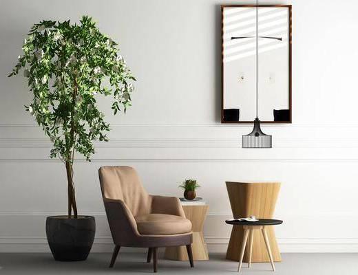 单人沙发, 茶几, 盆栽, 装饰画, 吊灯, 挂画, 北欧