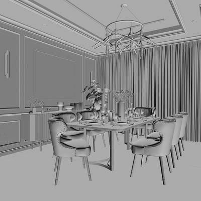 餐厅, 餐桌, 餐椅, 摆件, 装饰品, 陈设品, 装饰画, 挂画, 边柜, 壁灯, 吊灯, 简欧
