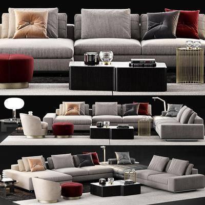 沙发组合, 转角沙发, 沙发茶几组合, 茶几边几组合, 单人沙发组合, 现代