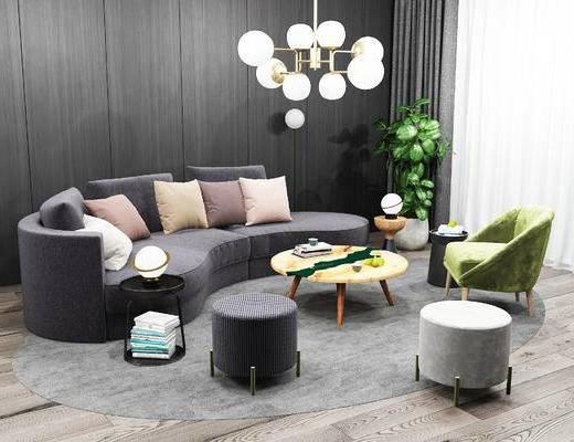 沙发组合, 茶几, 抱枕, 植物, 单椅, 吊灯