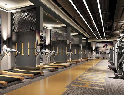 健身房, 跑步機, 健身器材