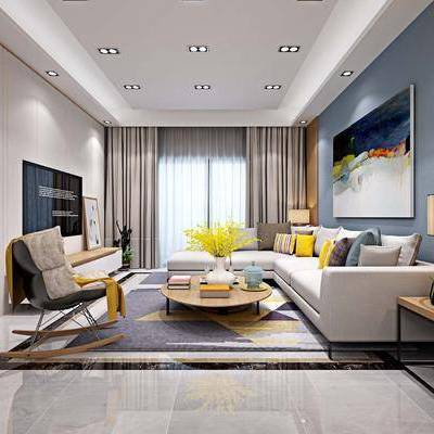 客厅, 餐厅, 多人沙发, 布艺沙发, 茶几, 单人椅, 转角沙发, 边几, 台灯, 装饰画, 餐桌, 餐椅, 现代