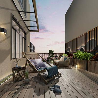 阳台, 阳光房, 休息区, 桌椅组合