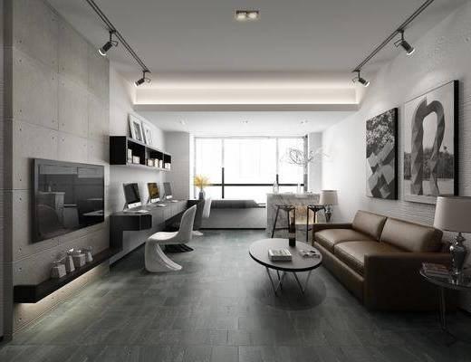 客厅, 多人沙发, 双人沙发, 茶几, 边几, 台灯, 装饰画, 挂画, 吧台, 吧椅, 单人椅, 书桌, 电脑, 置物架, 装饰柜, 书柜, 书籍, 摆件, 装饰品, 陈设品, 现代简约