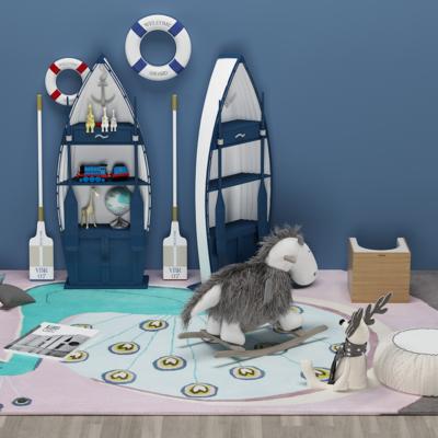 地中海实木船型, 儿童装饰柜玩具, 木马