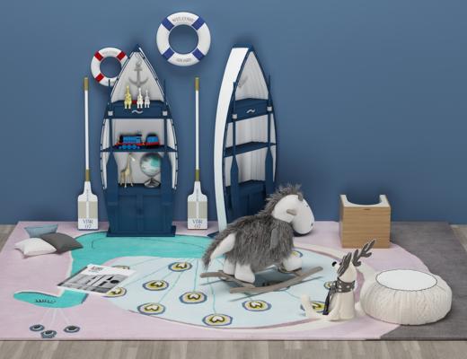 地中海實木船型, 兒童裝飾柜玩具, 木馬