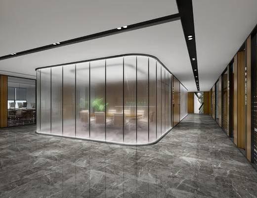 办公室, 会议室, 会议桌, 椅子, 绿植, 玻璃隔断
