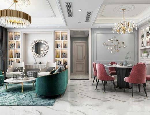 沙发组合, 吊灯, 餐桌, 墙饰, 茶几, 摆件组合