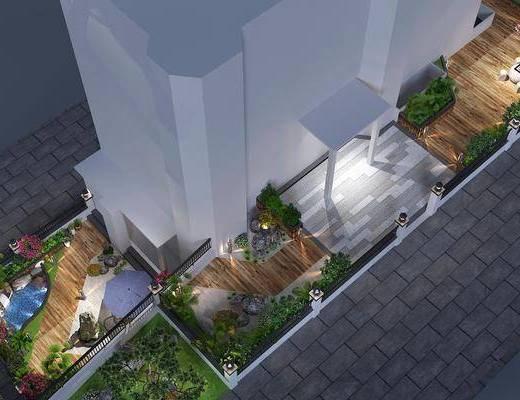 绿植盆栽, 假山鱼池, 休闲椅, 地灯, 石头石凳, 庭院