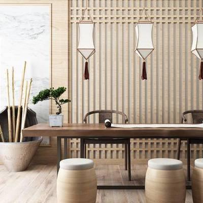 新中式书画桌椅, 茶桌, 中式矮凳, 吊灯