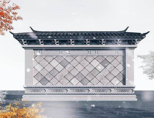 照壁, 一字影壁墙, 古代萧墙, 中式