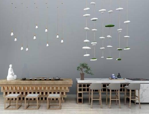 吧台吧椅, 茶桌, 单人椅, 茶具, 餐桌, 餐椅, 吊灯, 盆栽, 绿植植物, 吊灯吊饰, 桌椅组合, 摆件, 装饰品, 陈设品, 新中式